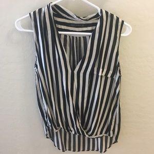 Zara Black and White Striped Top
